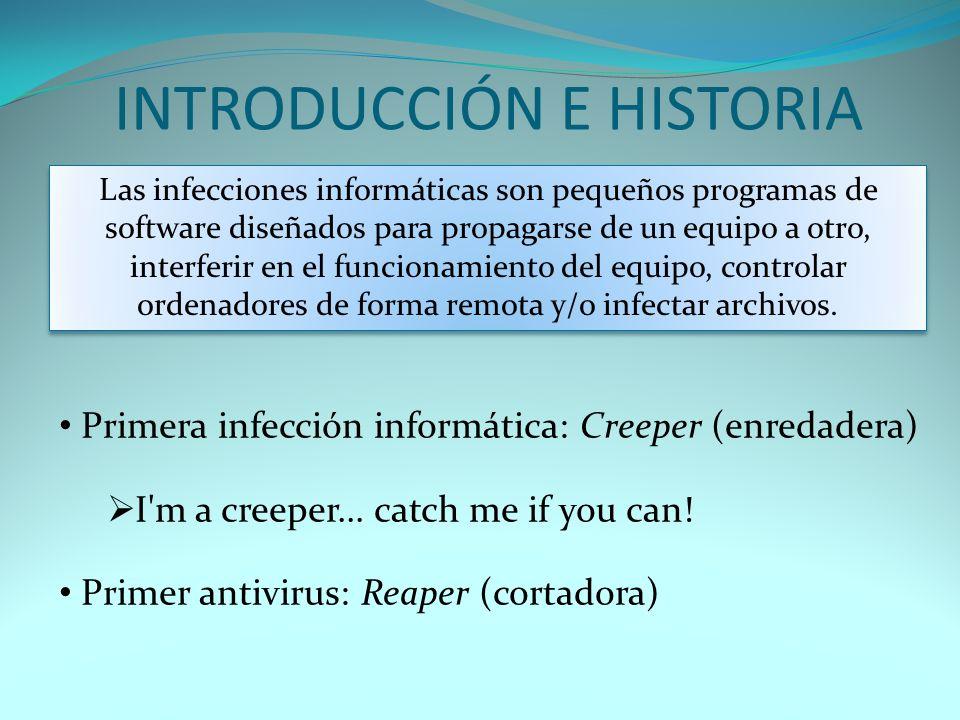 INTRODUCCIÓN E HISTORIA Las infecciones informáticas son pequeños programas de software diseñados para propagarse de un equipo a otro, interferir en e