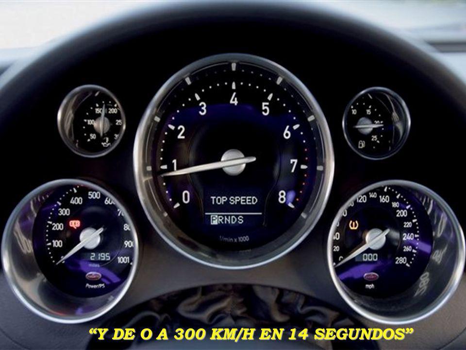 Es un automovil que tiene un motor de 8OOO cc de cilindrada V16 (o mejor: son 2 motores de 4000 cc V8 que juntos forman un 8000 V16!!! ), con 1001 CV