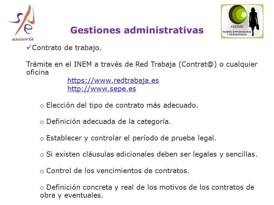Gestiones administrativas Contrato de trabajo.