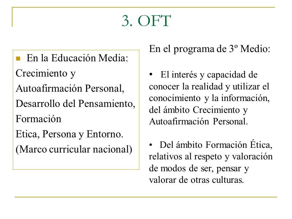 3. OFT En la Educación Media: Crecimiento y Autoafirmación Personal, Desarrollo del Pensamiento, Formación Etica, Persona y Entorno. (Marco curricular