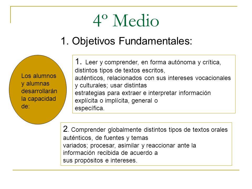 4º Medio 1. Objetivos Fundamentales: Los alumnos y alumnas desarrollarán la capacidad de: 1. Leer y comprender, en forma autónoma y crítica, distintos