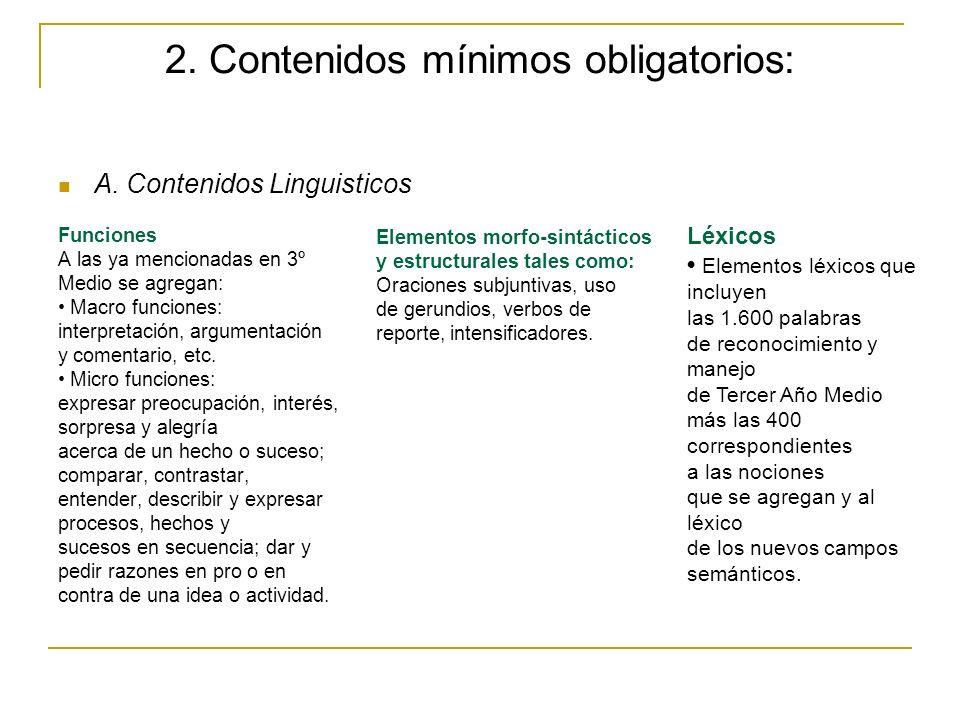 2. Contenidos mínimos obligatorios: A. Contenidos Linguisticos Funciones A las ya mencionadas en 3º Medio se agregan: Macro funciones: interpretación,