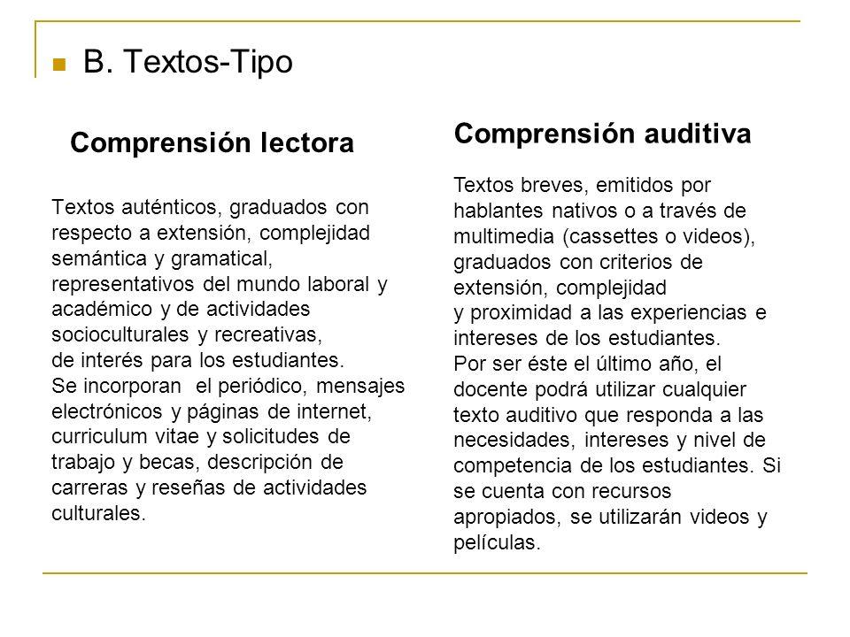 B. Textos-Tipo Comprensión lectora Textos auténticos, graduados con respecto a extensión, complejidad semántica y gramatical, representativos del mund