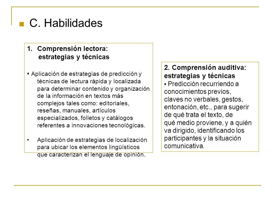 C. Habilidades 1.Comprensión lectora: estrategias y técnicas Aplicación de estrategias de predicción y técnicas de lectura rápida y localizada para de