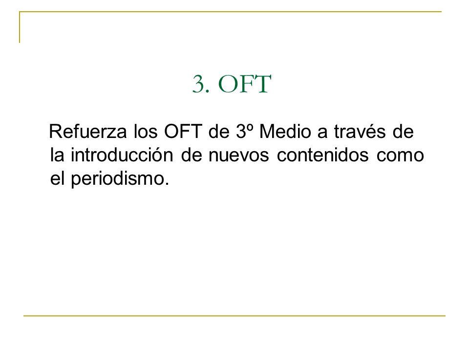 Refuerza los OFT de 3º Medio a través de la introducción de nuevos contenidos como el periodismo. 3. OFT