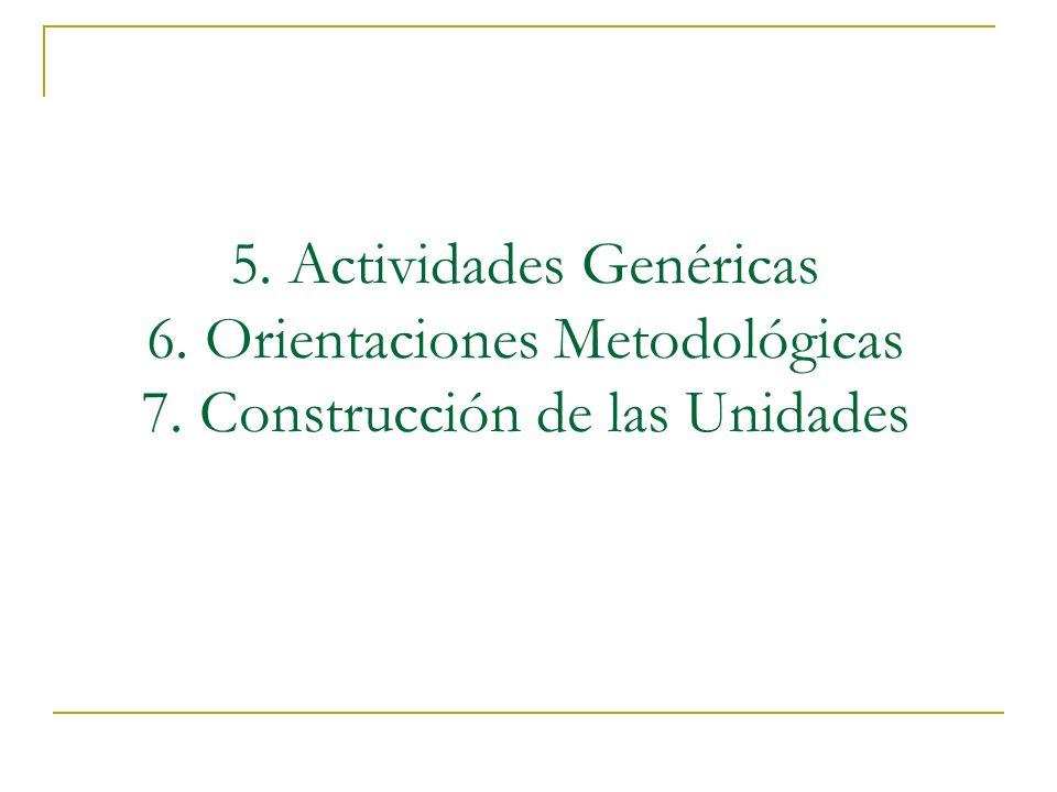 5. Actividades Genéricas 6. Orientaciones Metodológicas 7. Construcción de las Unidades