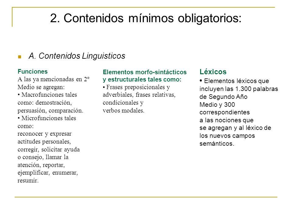 2. Contenidos mínimos obligatorios: A. Contenidos Linguisticos Funciones A las ya mencionadas en 2º Medio se agregan: Macrofunciones tales como: demos