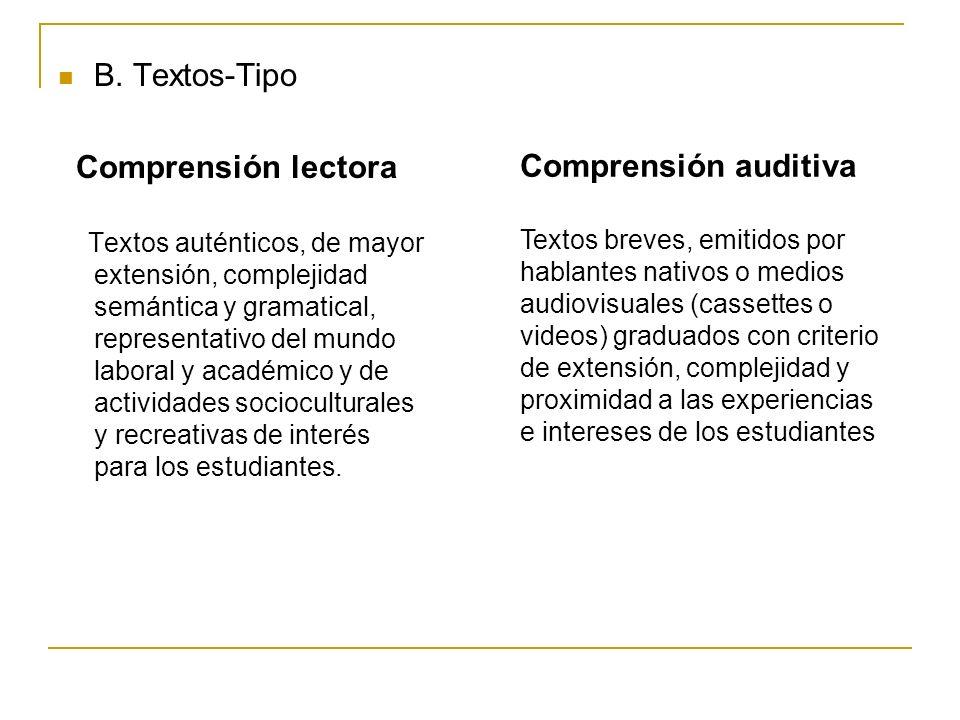 B. Textos-Tipo Comprensión lectora Textos auténticos, de mayor extensión, complejidad semántica y gramatical, representativo del mundo laboral y acadé