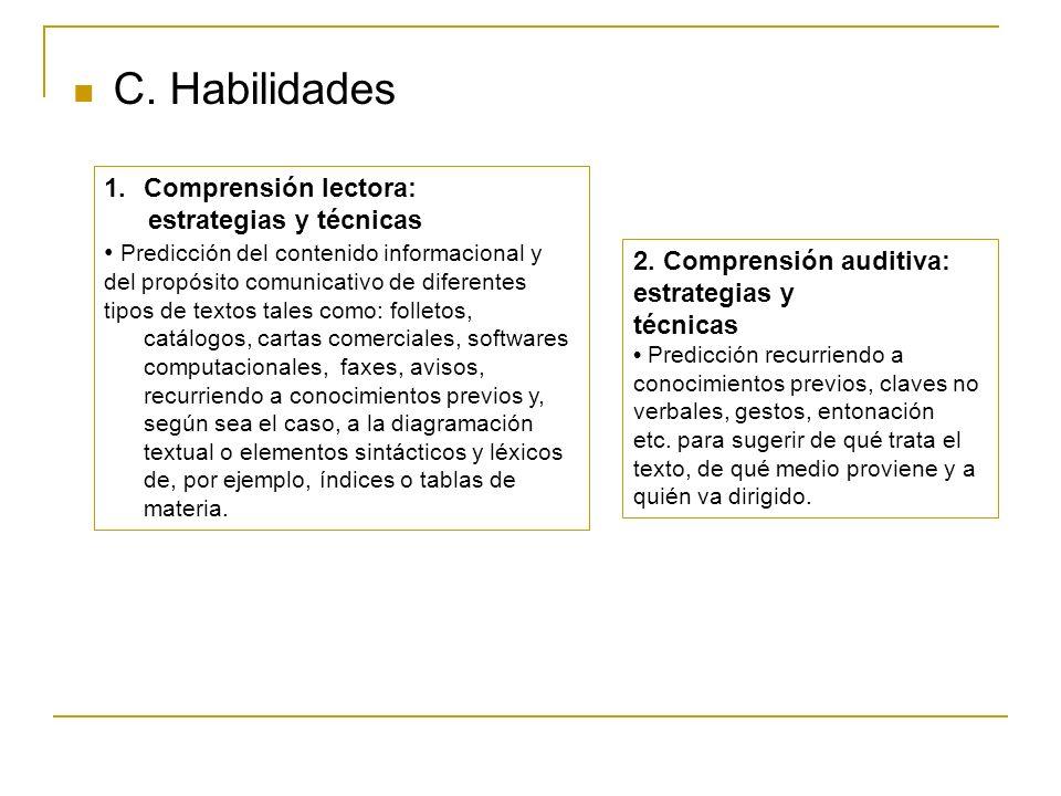 C. Habilidades 1.Comprensión lectora: estrategias y técnicas Predicción del contenido informacional y del propósito comunicativo de diferentes tipos d