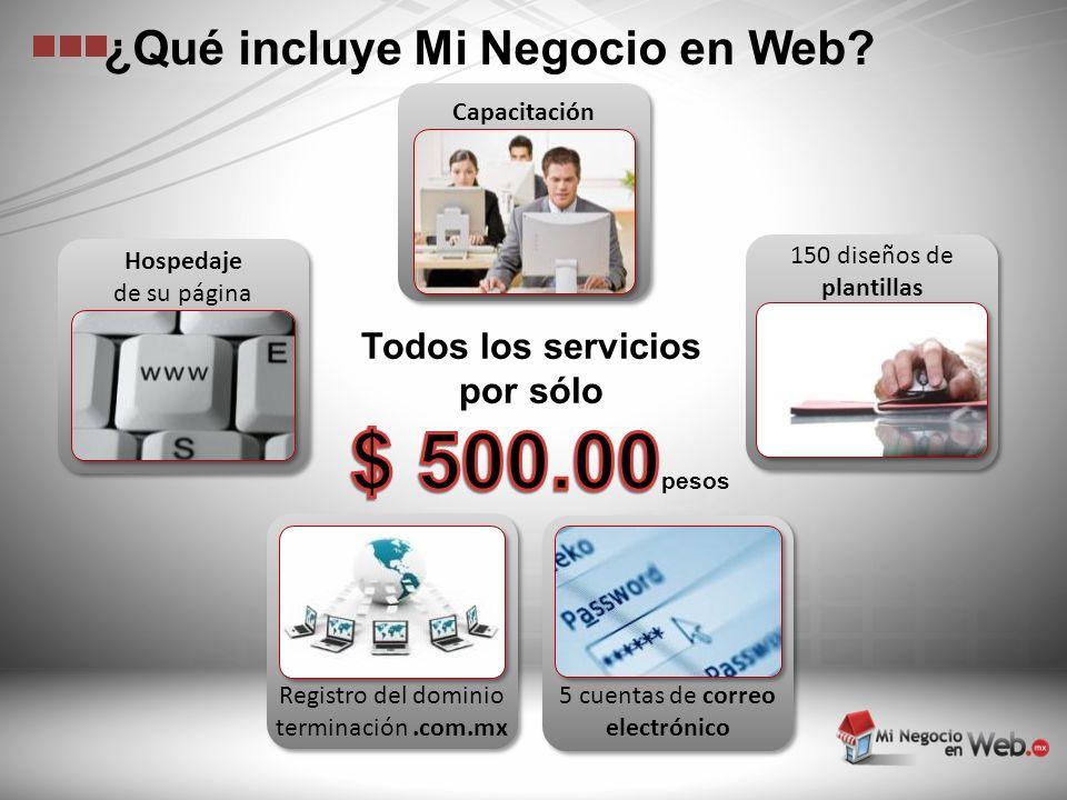 Todos los servicios por sólo 150 diseños de plantillas 5 cuentas de correo electrónico Registro del dominio terminación.com.mx Hospedaje de su página