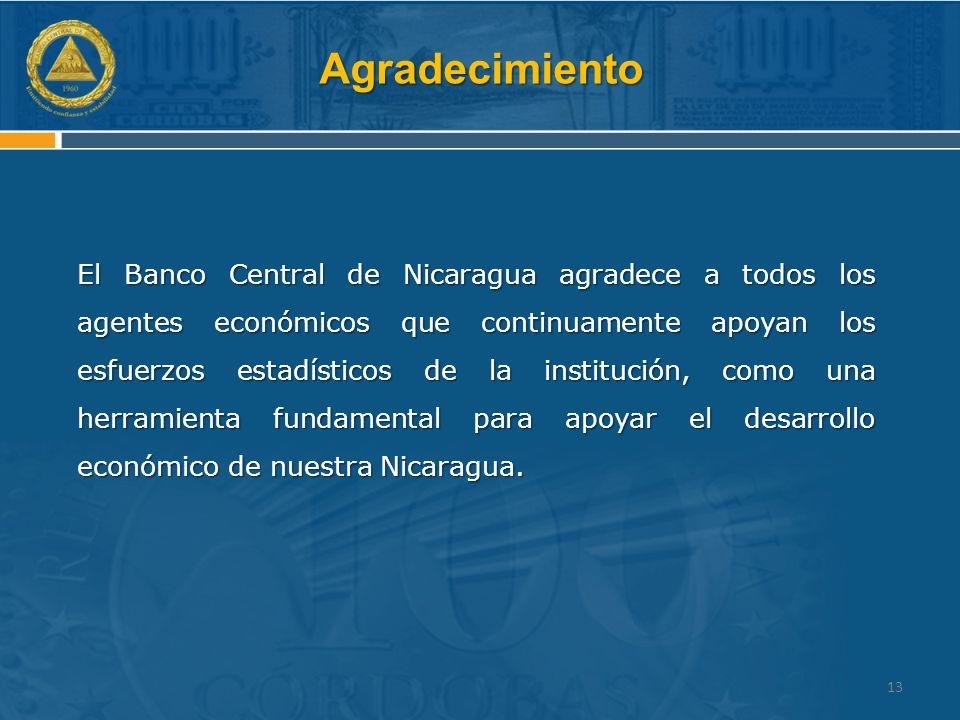 Agradecimiento El Banco Central de Nicaragua agradece a todos los agentes económicos que continuamente apoyan los esfuerzos estadísticos de la institución, como una herramienta fundamental para apoyar el desarrollo económico de nuestra Nicaragua.
