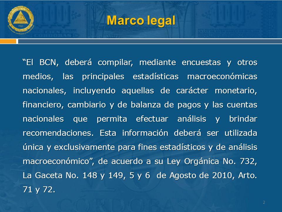 Marco legal El BCN, deberá compilar, mediante encuestas y otros medios, las principales estadísticas macroeconómicas nacionales, incluyendo aquellas de carácter monetario, financiero, cambiario y de balanza de pagos y las cuentas nacionales que permita efectuar análisis y brindar recomendaciones.