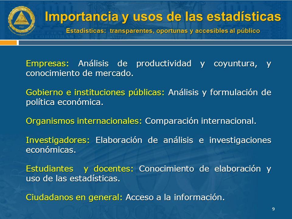 Estadísticas: transparentes, oportunas y accesibles al público Empresas: Análisis de productividad y coyuntura, y conocimiento de mercado.