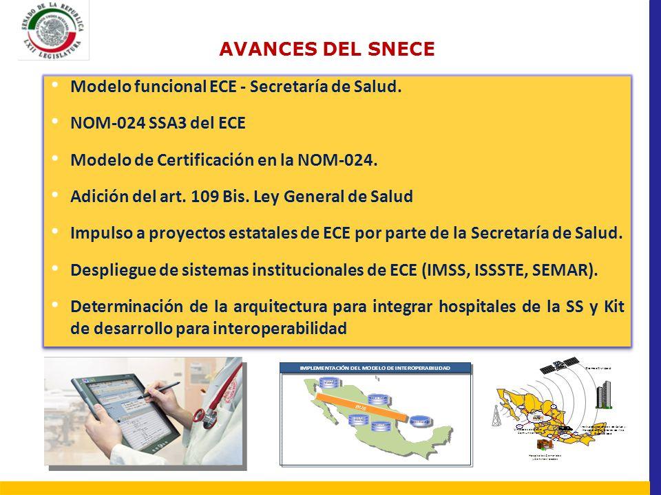 AVANCES DEL SNECE Modelo funcional ECE - Secretaría de Salud. NOM-024 SSA3 del ECE Modelo de Certificación en la NOM-024. Adición del art. 109 Bis. Le