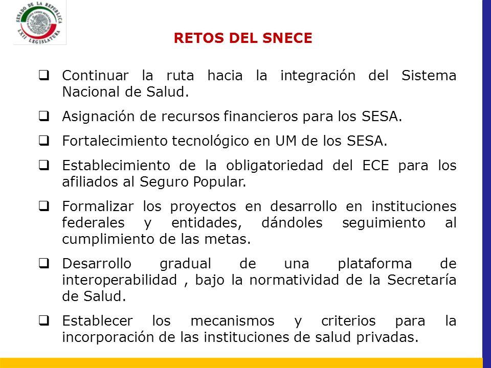 RETOS DEL SNECE Continuar la ruta hacia la integración del Sistema Nacional de Salud. Asignación de recursos financieros para los SESA. Fortalecimient