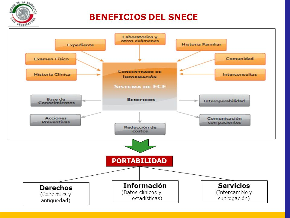 BENEFICIOS DEL SNECE PORTABILIDAD Servicios (Intercambio y subrogación) Información (Datos clínicos y os y estadísticas) Derechos (Cobertura y antigüe