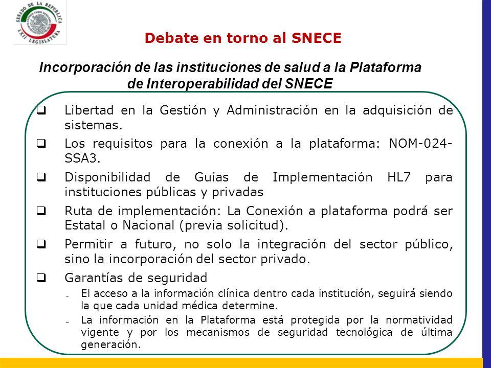 Debate en torno al SNECE Incorporación de las instituciones de salud a la Plataforma de Interoperabilidad del SNECE El acceso a la información clínica