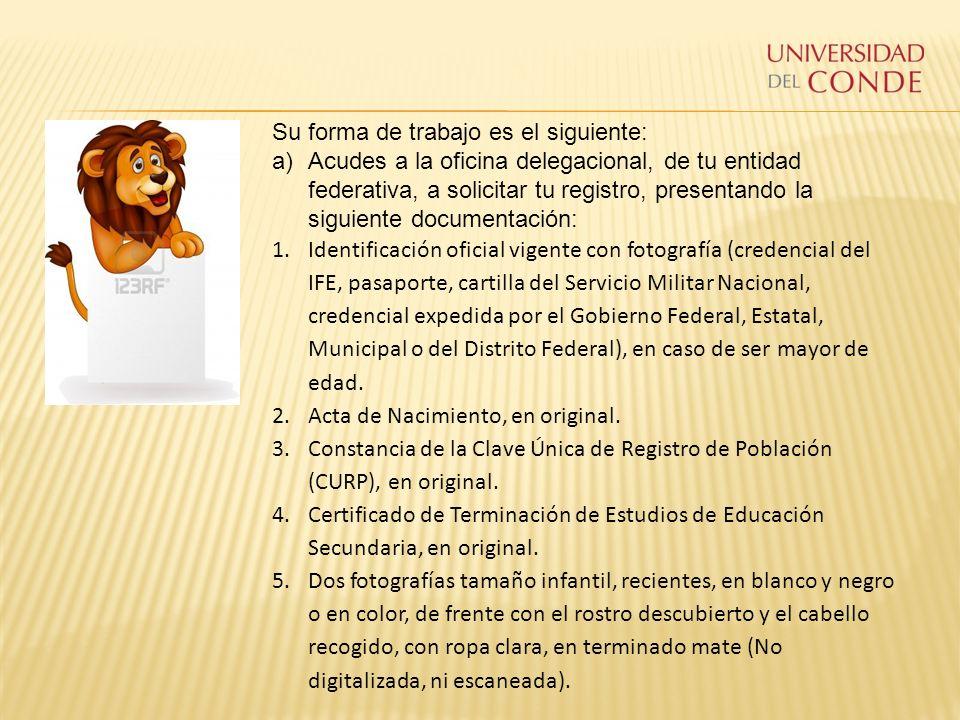 Su forma de trabajo es el siguiente: a)Acudes a la oficina delegacional, de tu entidad federativa, a solicitar tu registro, presentando la siguiente d