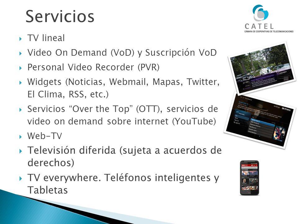 Servicios TV lineal Video On Demand (VoD) y Suscripción VoD Personal Video Recorder (PVR) Widgets (Noticias, Webmail, Mapas, Twitter, El Clima, RSS, e
