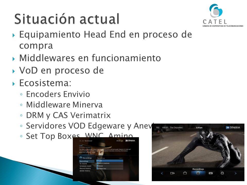 Equipamiento Head End en proceso de compra Middlewares en funcionamiento VoD en proceso de Ecosistema: Encoders Envivio Middleware Minerva DRM y CAS V
