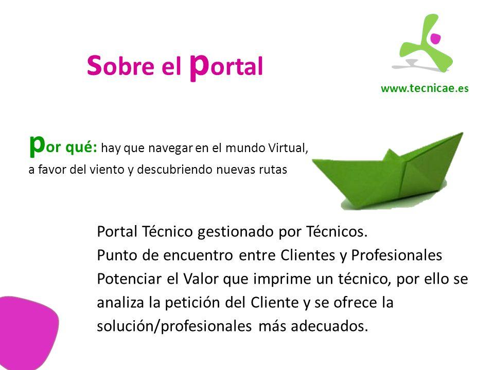 www. tecnicae.es s obre el p ortal Portal Técnico gestionado por Técnicos.
