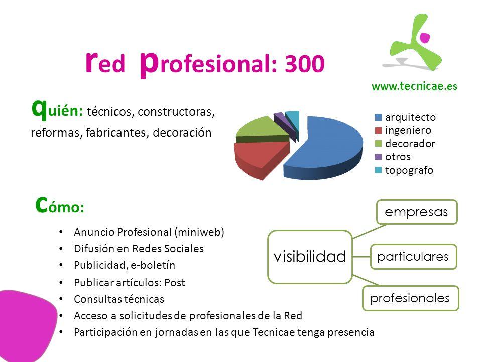 www. tecnicae.es r ed p rofesional: 300 q uién: técnicos, constructoras, reformas, fabricantes, decoración c ómo: Anuncio Profesional (miniweb) Difusi