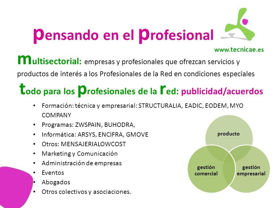 www. tecnicae.es p ensando en el p rofesional m ultisectorial: empresas y profesionales que ofrezcan servicios y productos de interés a los Profesiona