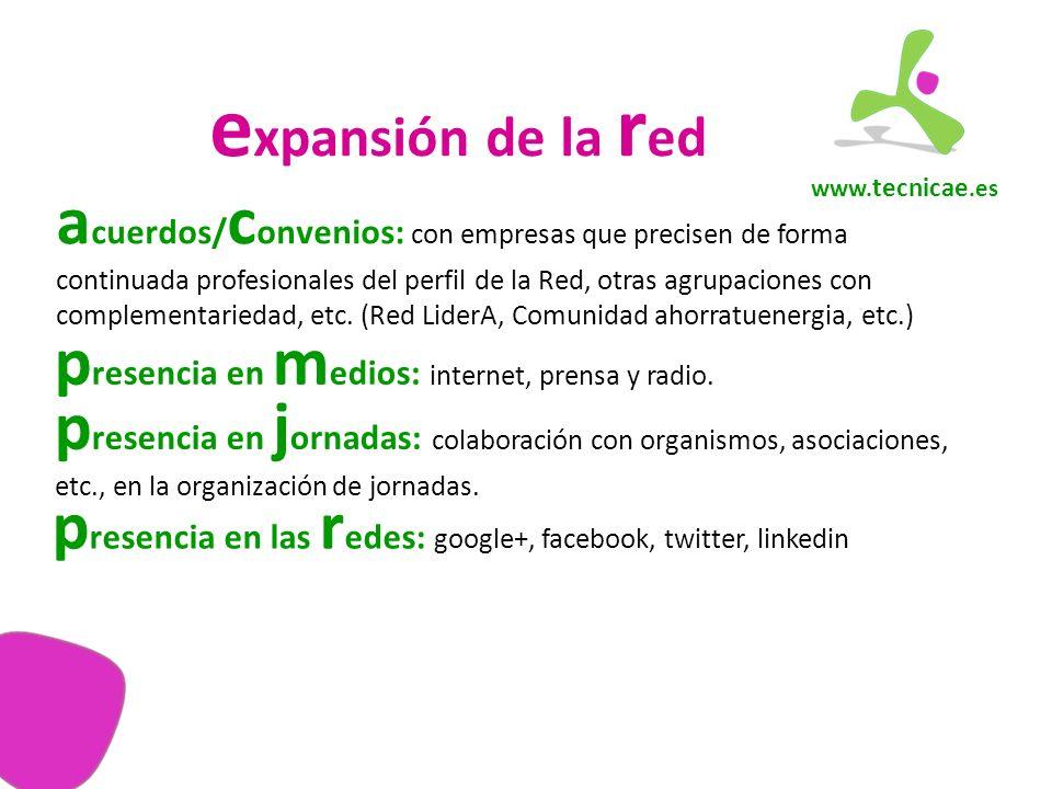 www. tecnicae.es e xpansión de la r ed a cuerdos/ c onvenios: con empresas que precisen de forma continuada profesionales del perfil de la Red, otras