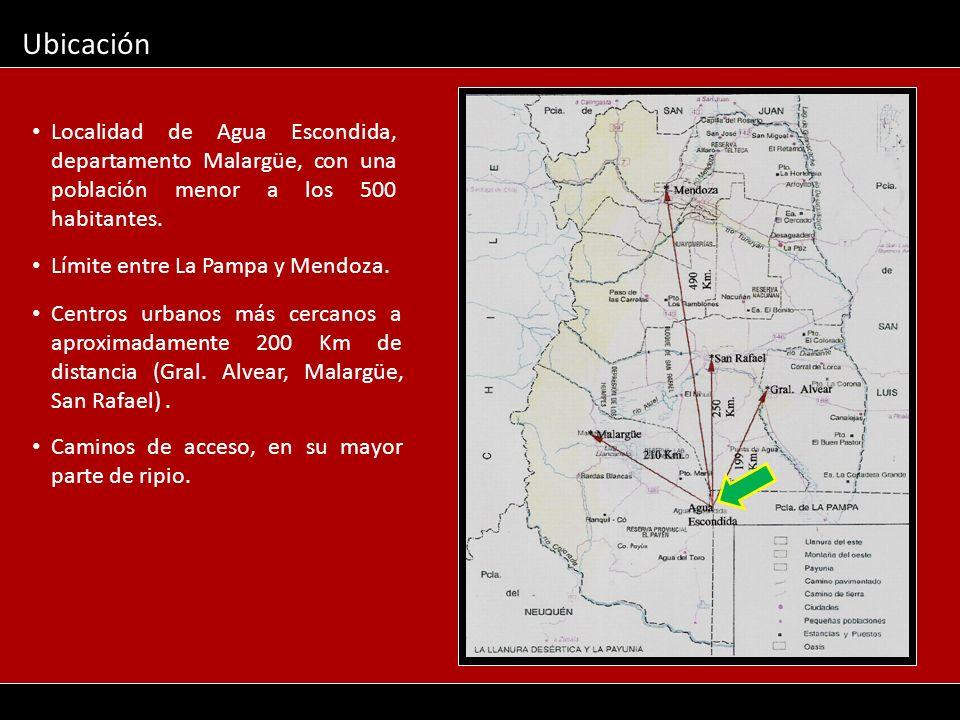 Localidad de Agua Escondida, departamento Malargüe, con una población menor a los 500 habitantes. Ubicación Límite entre La Pampa y Mendoza. Centros u