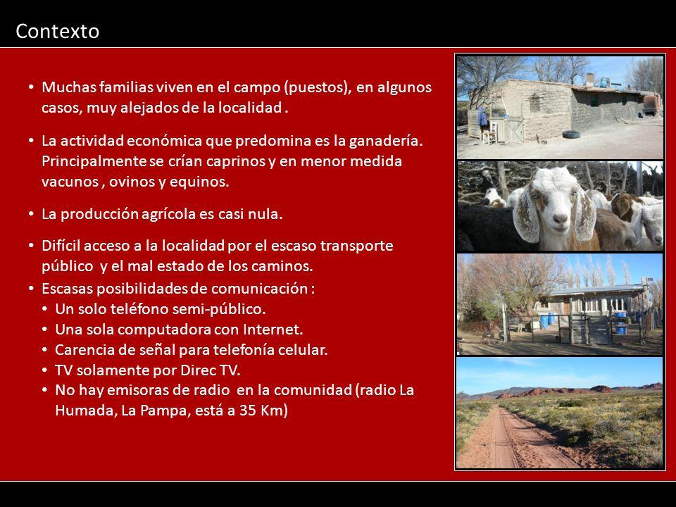 Contexto La actividad económica que predomina es la ganadería. Principalmente se crían caprinos y en menor medida vacunos, ovinos y equinos. La produc