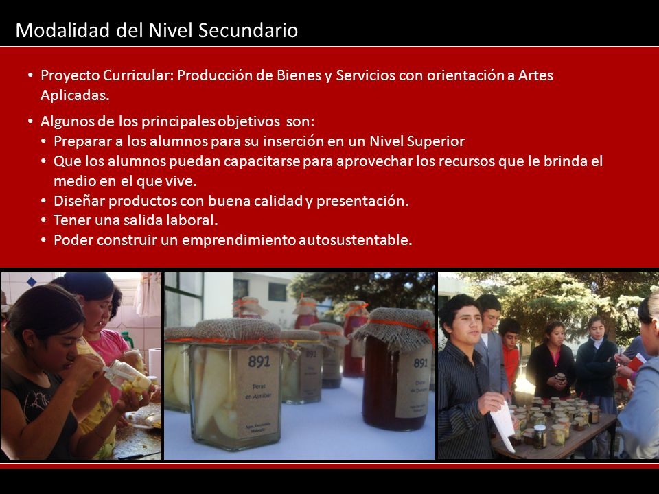 Modalidad del Nivel Secundario Proyecto Curricular: Producción de Bienes y Servicios con orientación a Artes Aplicadas. Algunos de los principales obj