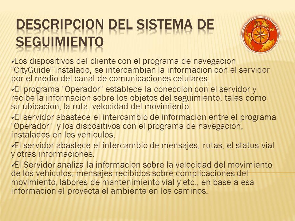 Los dispositivos del cliente con el programa de navegacion CityGuide instalado, se intercambian la informacion con el servidor por el medio del canal de comunicaciones celulares.