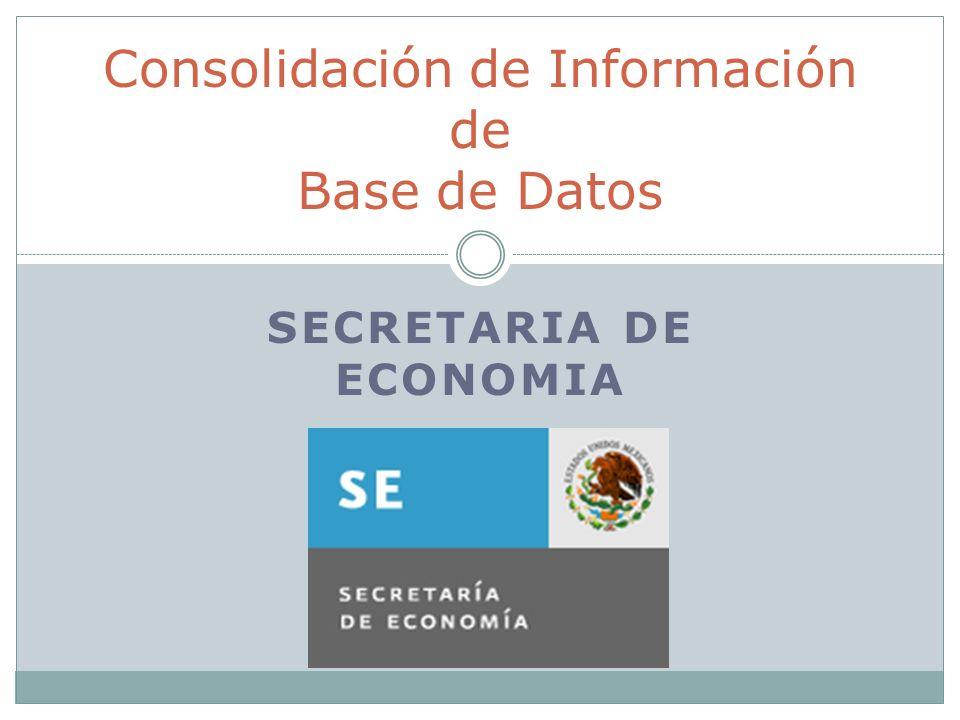 SECRETARIA DE ECONOMIA Consolidación de Información de Base de Datos