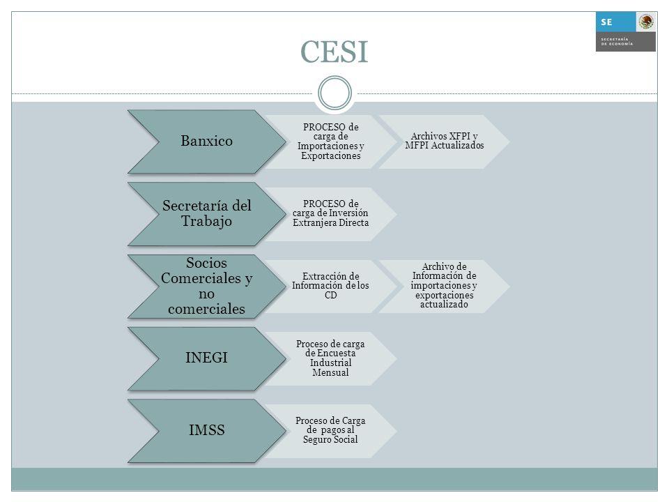 CESI Banxico PROCESO de carga de Importaciones y Exportaciones Archivos XFPI y MFPI Actualizados Secretaría del Trabajo PROCESO de carga de Inversión