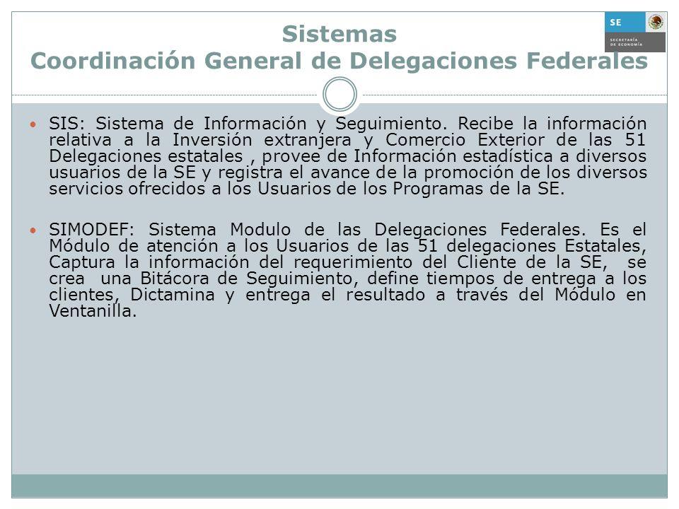 Sistemas Coordinación General de Delegaciones Federales SIS: Sistema de Información y Seguimiento. Recibe la información relativa a la Inversión extra
