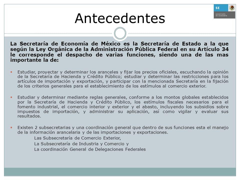 Antecedentes La Secretaría de Economía de México es la Secretaría de Estado a la que según la Ley Orgánica de la Administración Pública Federal en su