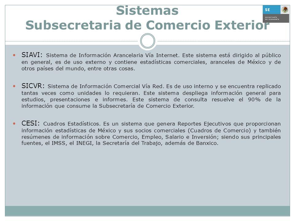 Sistemas Subsecretaria de Comercio Exterior SIAVI: Sistema de Información Arancelaria Vía Internet. Este sistema está dirigido al público en general,