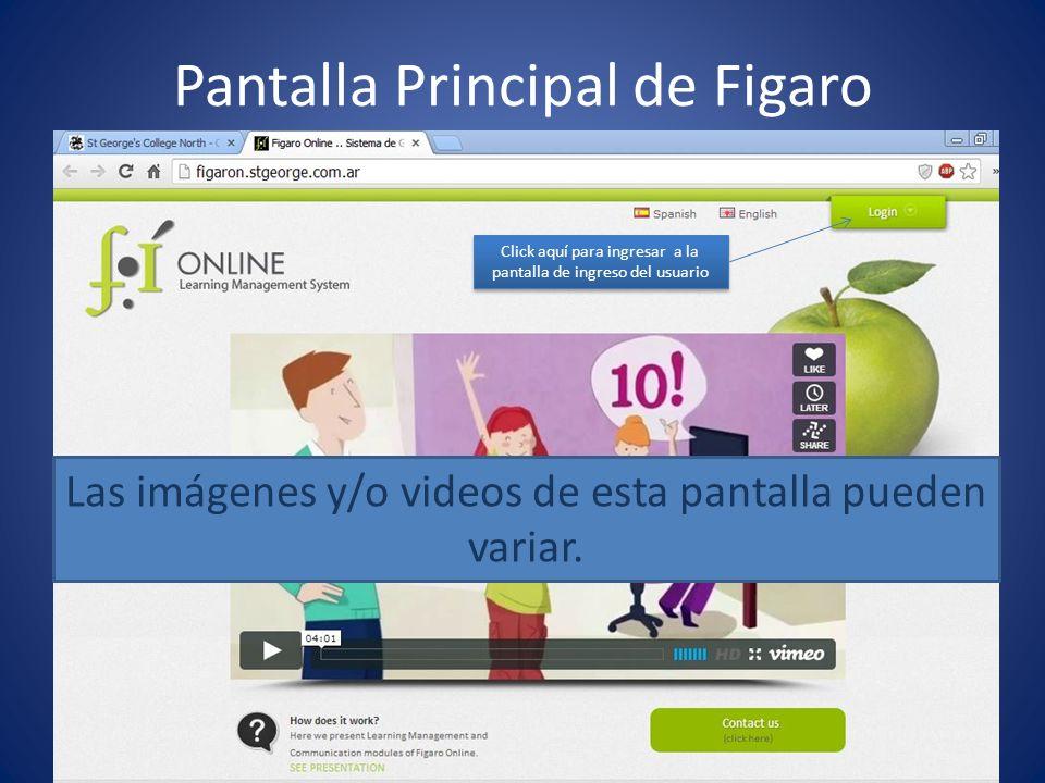 Pantalla de login de usuario Click aquí para ingresar a Figaro Ingresar aquí Nombre del usuario Ingresar aquí la contraseña Ignorar esta parte de la pantalla
