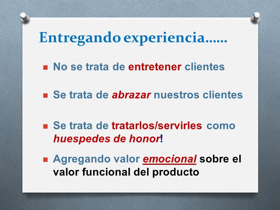 15 Entregando experiencia…… No se trata de entretener clientes Se trata de abrazar nuestros clientes Se trata de tratarlos/servirles como huespedes de