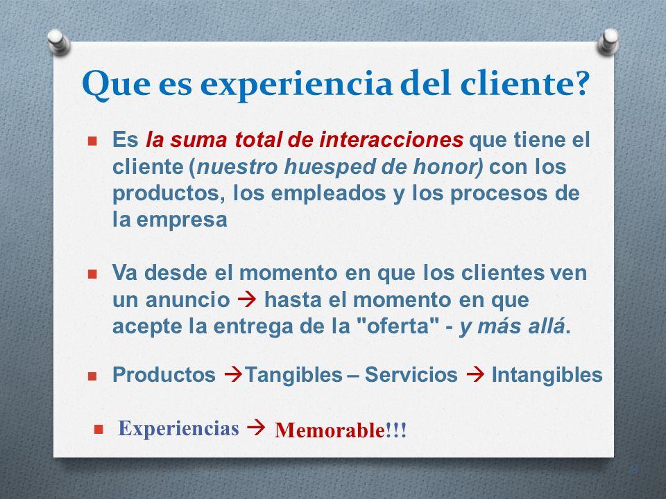16 Que es experiencia del cliente? Es la suma total de interacciones que tiene el cliente (nuestro huesped de honor) con los productos, los empleados
