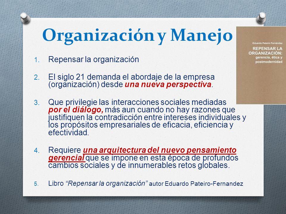 Organización y Manejo 1. Repensar la organización 2. El siglo 21 demanda el abordaje de la empresa (organización) desde una nueva perspectiva. 3. Que