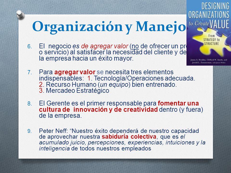 Organización y Manejo 6. El negocio es de agregar valor (no de ofrecer un producto o servicio) al satisfacer la necesidad del cliente y de mover la em