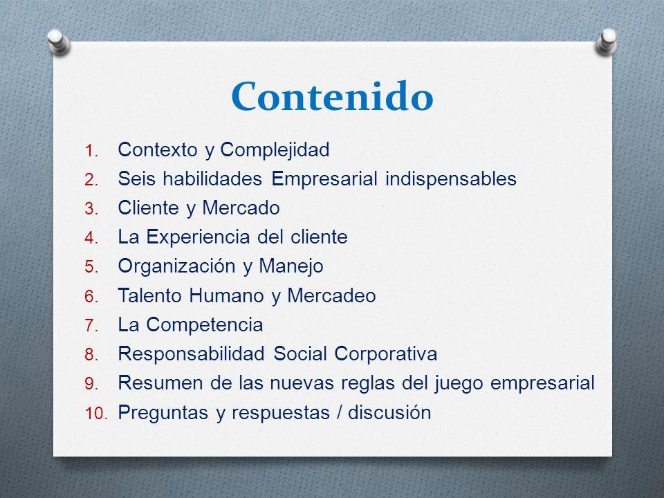Contenido 1. Contexto y Complejidad 2. Seis habilidades Empresarial indispensables 3. Cliente y Mercado 4. La Experiencia del cliente 5. Organización