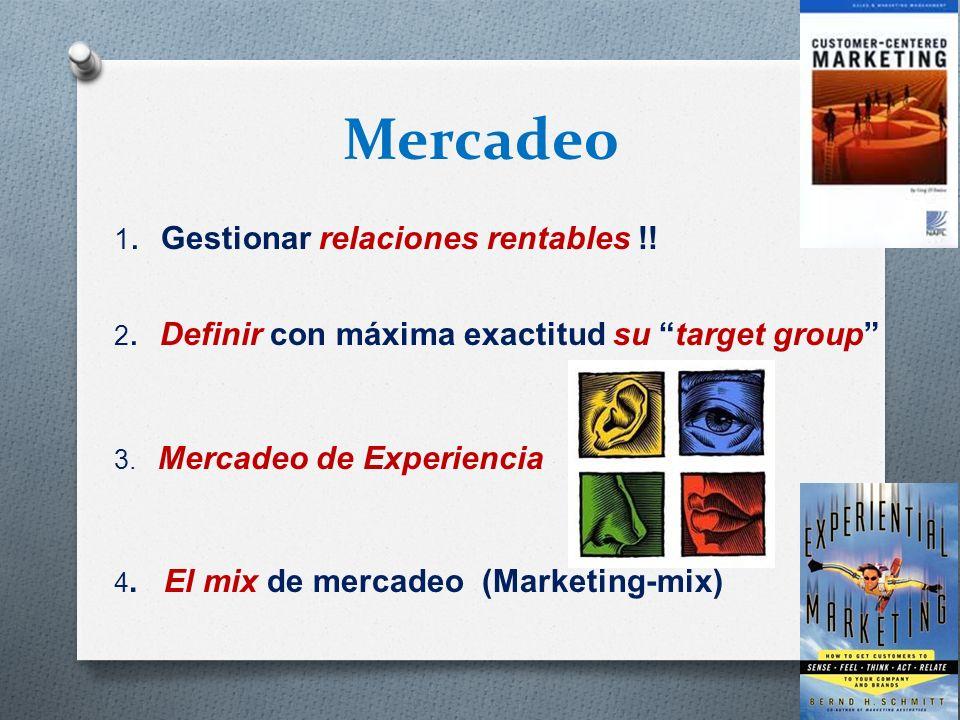 Mercadeo 1. Gestionar relaciones rentables !! 2. Definir con máxima exactitud su target group 3. Mercadeo de Experiencia 4. El mix de mercadeo (Market