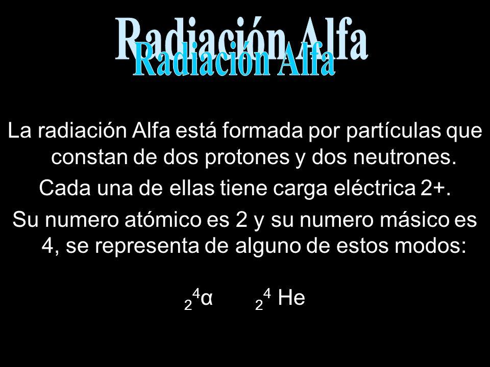 La radiación Alfa está formada por partículas que constan de dos protones y dos neutrones. Cada una de ellas tiene carga eléctrica 2+. Su numero atómi