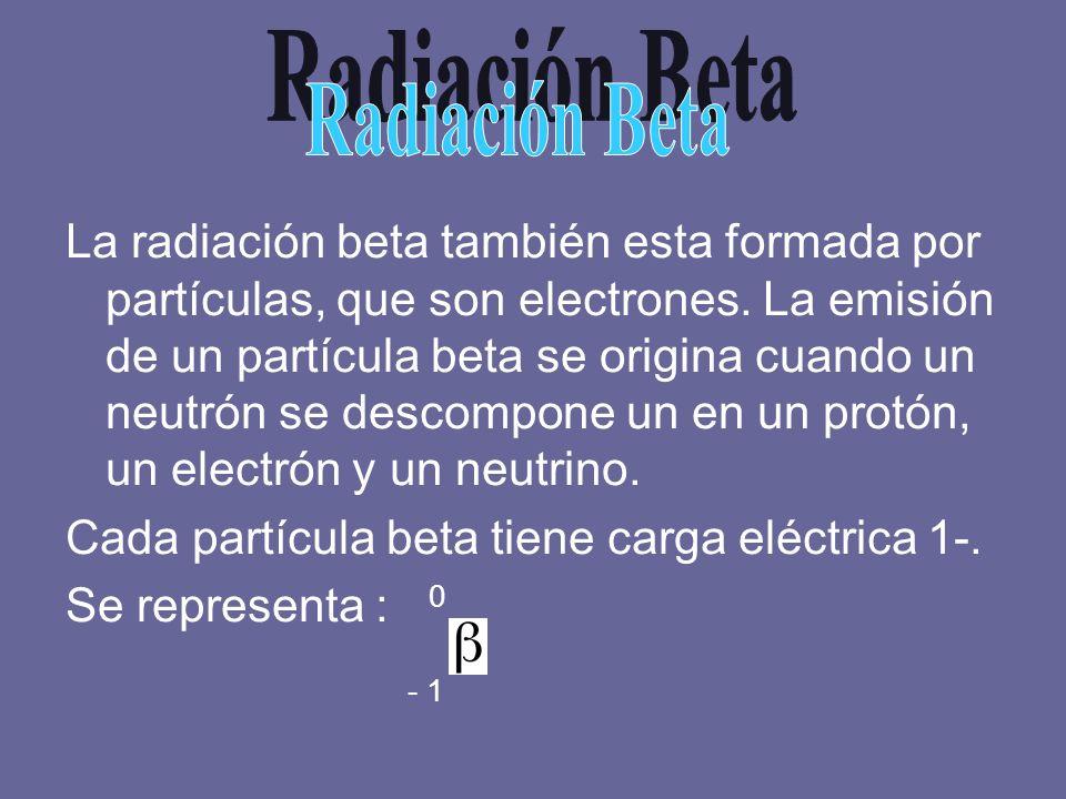 La radiación beta también esta formada por partículas, que son electrones. La emisión de un partícula beta se origina cuando un neutrón se descompone