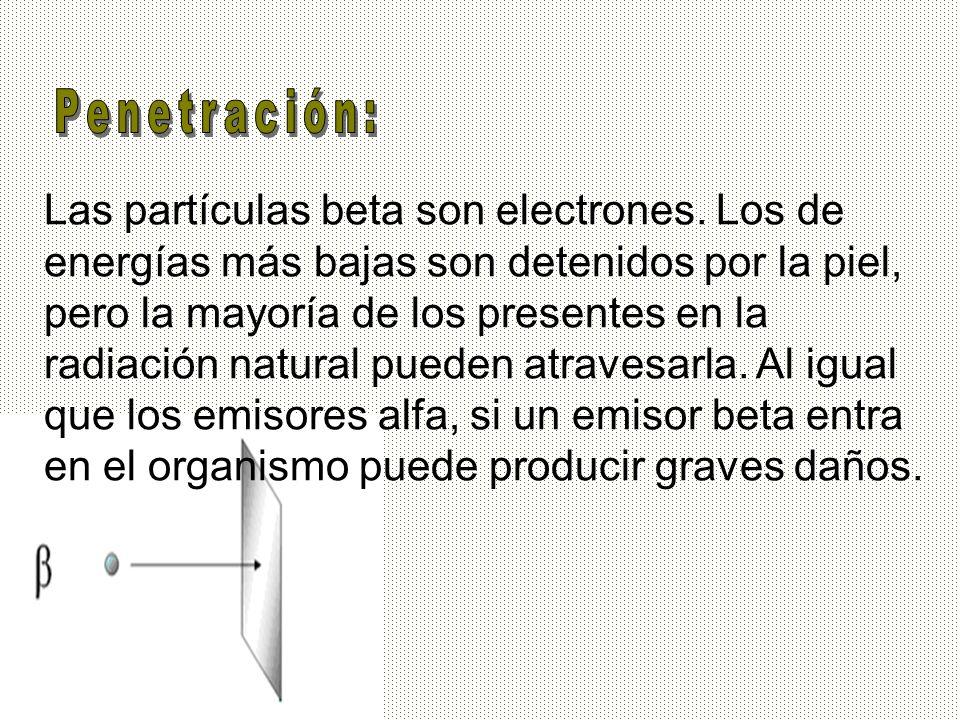 Las partículas beta son electrones. Los de energías más bajas son detenidos por la piel, pero la mayoría de los presentes en la radiación natural pued