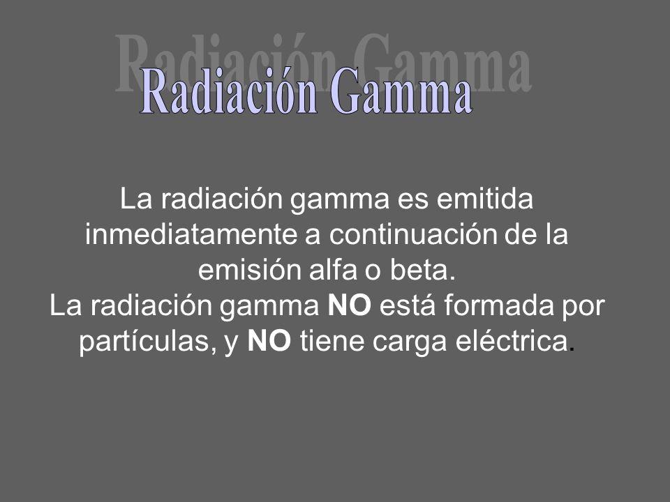 La radiación gamma es emitida inmediatamente a continuación de la emisión alfa o beta. La radiación gamma NO está formada por partículas, y NO tiene c