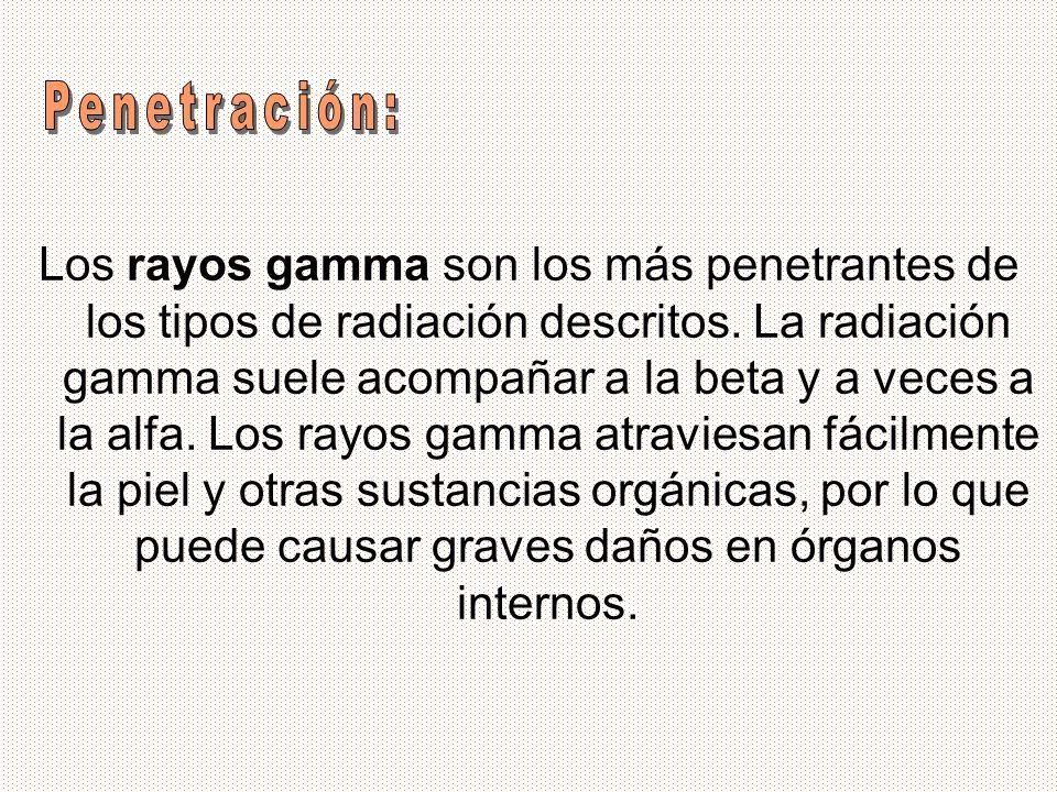 Los rayos gamma son los más penetrantes de los tipos de radiación descritos. La radiación gamma suele acompañar a la beta y a veces a la alfa. Los ray