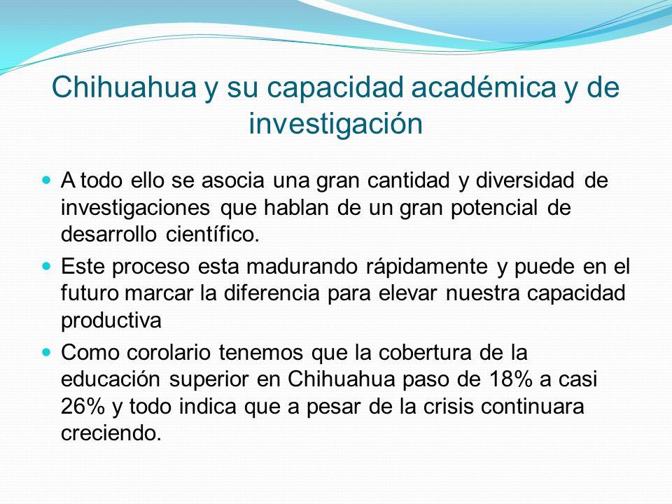 Chihuahua y su capacidad académica y de investigación A todo ello se asocia una gran cantidad y diversidad de investigaciones que hablan de un gran po
